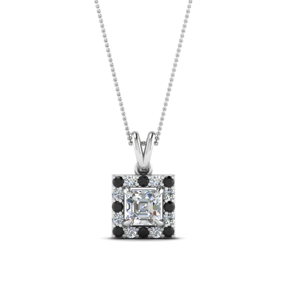 Asscher Halo Diamond Pendant