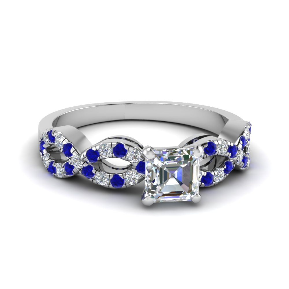 Asscher Cut Braided Diamond Engagement Ring With Sapphire In 14K White Gold