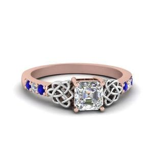 Sapphire Celtic Side Stone Ring