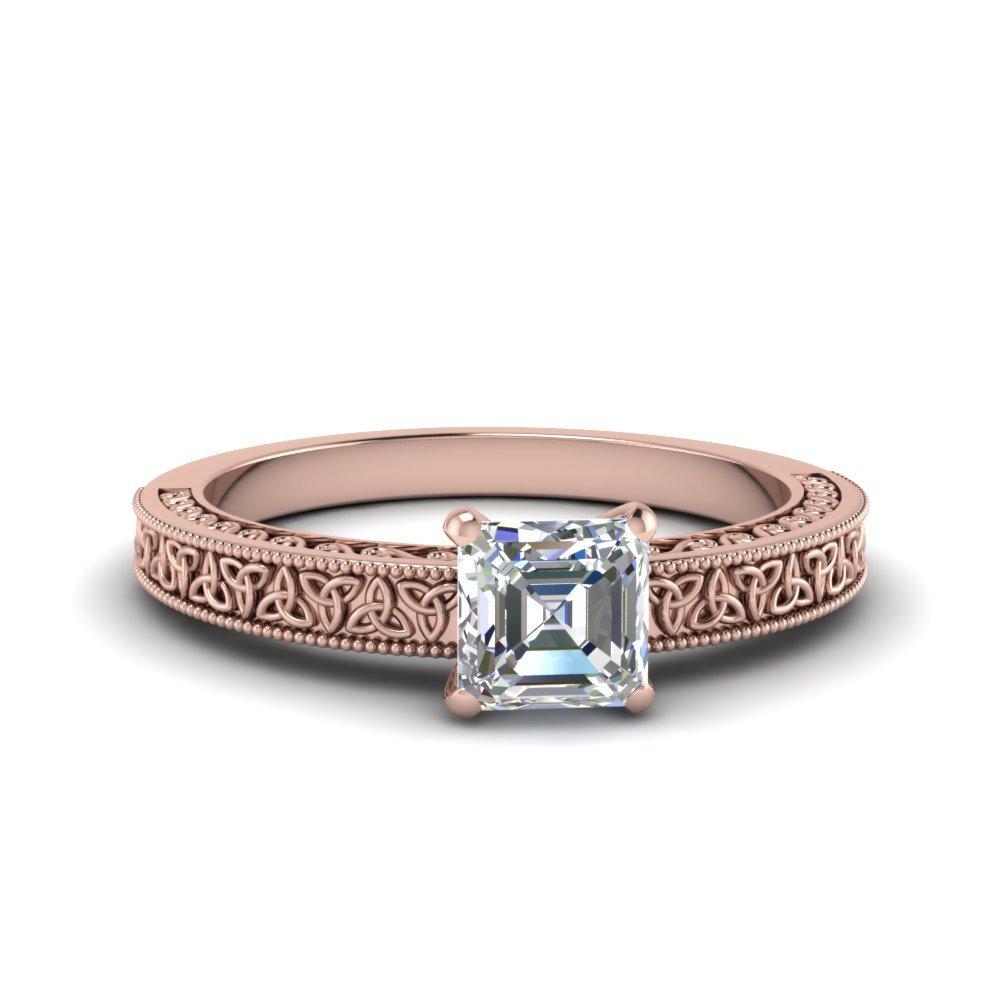 Asscher Cut Celtic Engraved Solitaire Ring In 14K Rose Gold