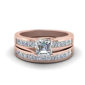 Channel Diamond Wedding Ring Set