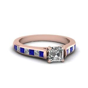 Asscher Cut Cathedral Channel Set Diamond Engagement Ring With Sapphire In 14K Rose Gold