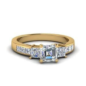 Asscher Cut Channel Three Stone Diamond Engagement Ring In 14K Yellow Gold