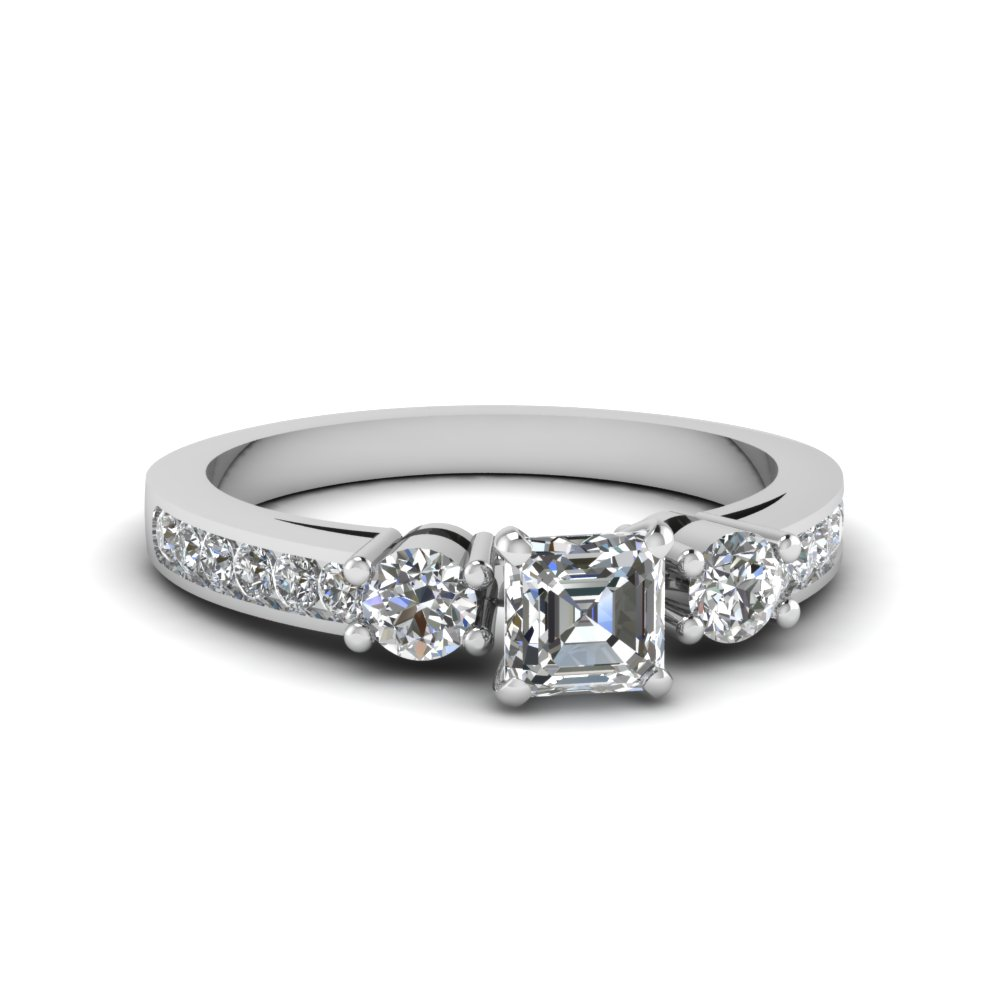 Channel Three Stone Diamond Ring