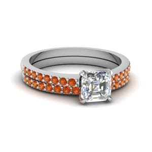 Petite Orange Sapphire Ring Set