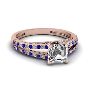 Asscher Diamond Ring With Sapphire
