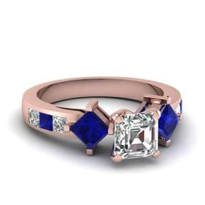 Princess Accent  Asscher Diamond Ring