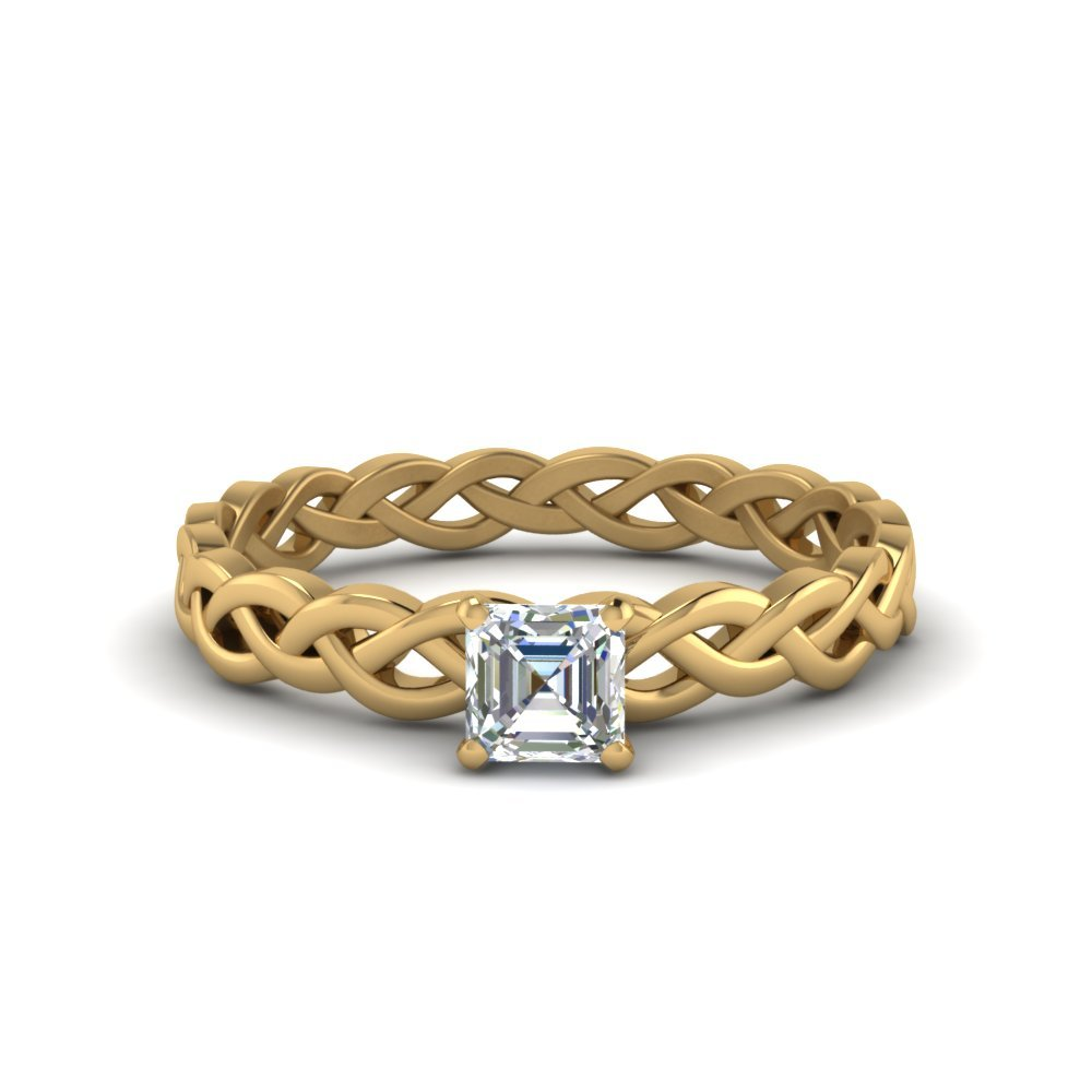 Asscher Cut Braided Solitaire Ring
