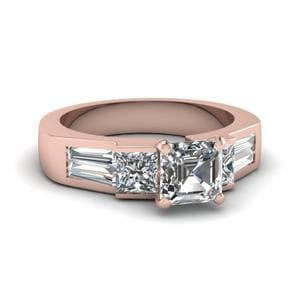Art Deco Asscher Diamond Engagement Ring In 14K Rose Gold