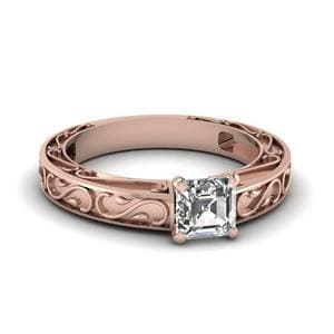 Carved Asscher Diamond Solitaire Engagement Ring In 14K Rose Gold