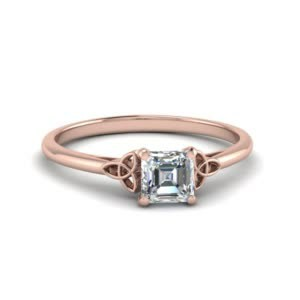 Asscher Celtic Diamond Ring