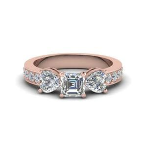 Pave Three Stone Diamond Ring