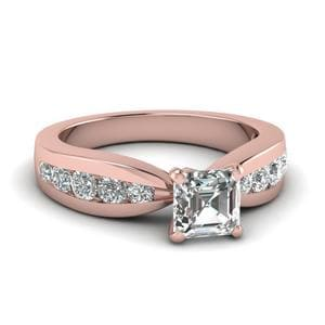 Tapered Channel Set Asscher Diamond Engagement Ring In 14K Rose Gold