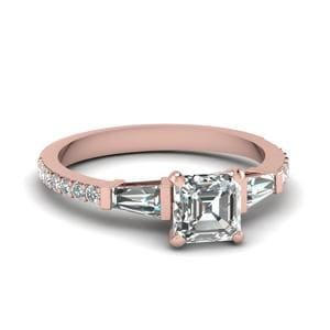 Asscher Cut 3 Stone Baguette Diamond Ring