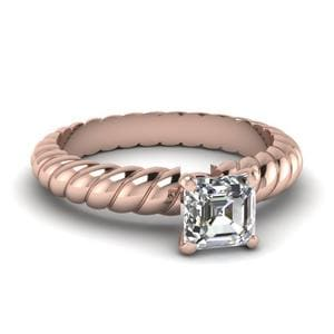 Asscher Cut Rope Solitaire Ring