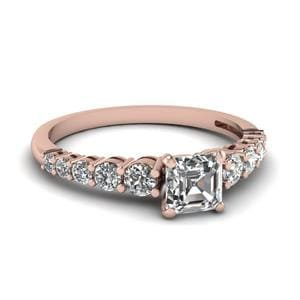 Graduated Asscher Diamond Ring In 14K Rose Gold