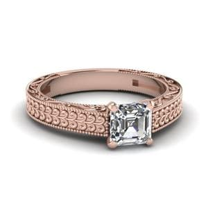 Antique Carved Asscher Cut Solitaire Engagement Ring In 14K Rose Gold