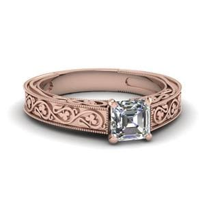 Vintage Asscher Solitaire Diamond Ring In 14K Rose Gold