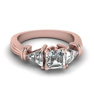 Trillion 3 Stone Asscher Diamond Engagement Ring In 14K Rose Gold