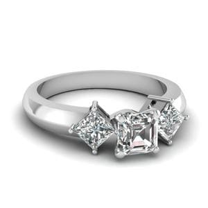 Kite Set 3 Stone Asscher Cut Engagement Ring In 14K White Gold