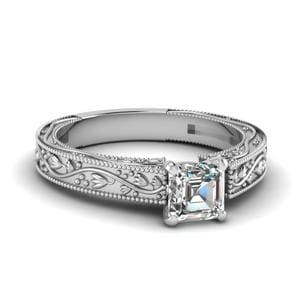 Floral Engraved Asscher Cut Diamond Solitaire Engagement Ring In 14K White Gold