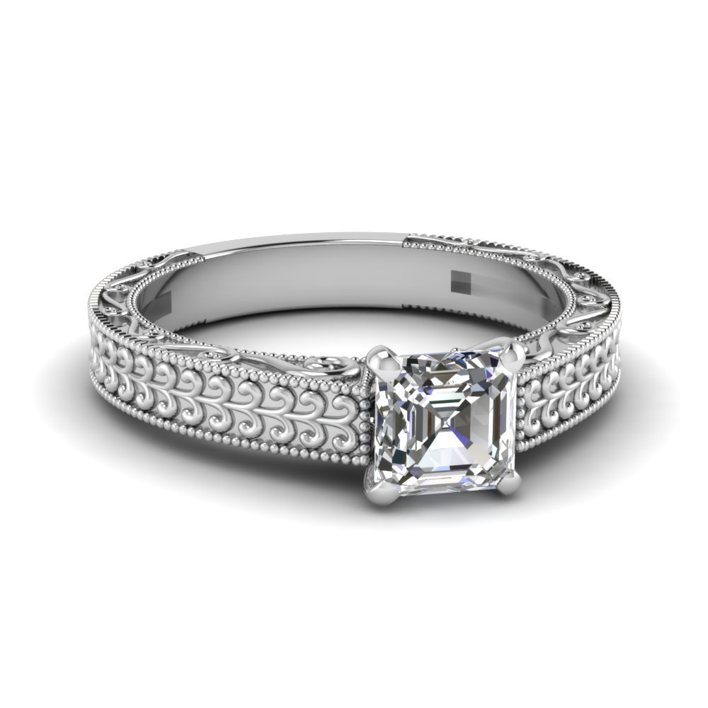 Asscher Cut Diamond Engagement Ring In 14K White Gold