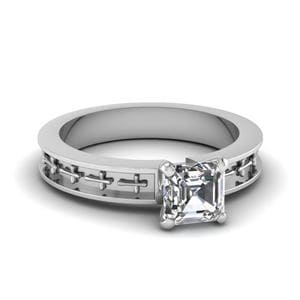 Cross Engraved Asscher Cut Solitaire Engagement Ring In 14K White Gold