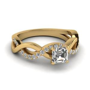 Infinity Asscher Diamond Ring In 14K Yellow Gold