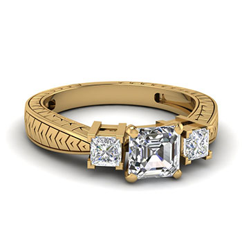 0.75 Carat Asscher Cut Diamond Engagement Rings