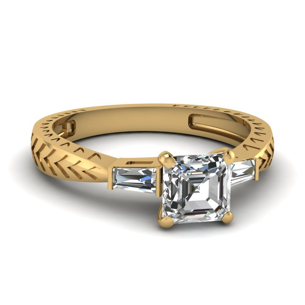 Tapered Vintage 3 Stone Asscher Engagement Ring In 14K Yellow Gold