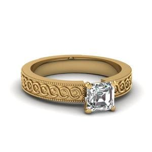 Engraved Milgrain Asscher Cut Solitaire Engagement Ring In 14K Yellow Gold
