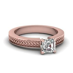Weaved Design Asscher Cut Solitaire Engagement Ring In 18K Rose Gold