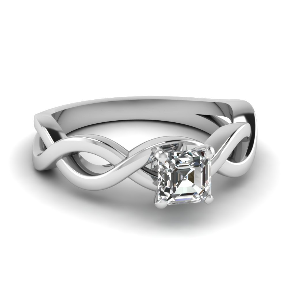 Infinity Asscher Diamond Solitaire Engagement Ring In 18K White Gold