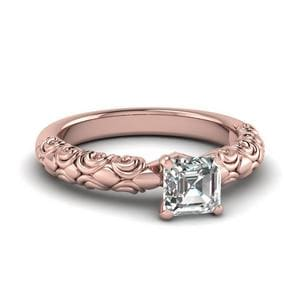 Asscher Cut Diamond Filigree Accent Solitaire Engagement Ring In 14K Rose Gold