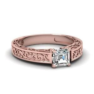 Filigree Engraved Asscher Cut Ring