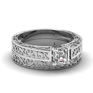 Filigree Engraved Asscher Cut Solitaire Wedding Set In 14K White Gold