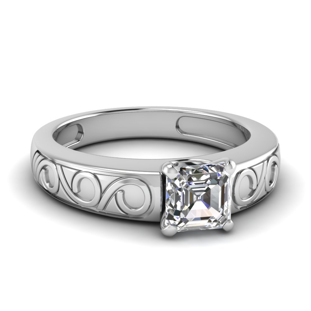 Asscher Cut Filigree Solitaire Ring In 14K White Gold
