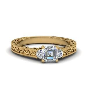 Asscher Cut Diamond Filigree Three Stone Engagement Ring In 14K Yellow Gold