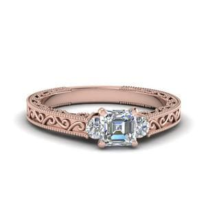 Asscher Cut Diamond Filigree Three Stone Engagement Ring In 18K Rose Gold