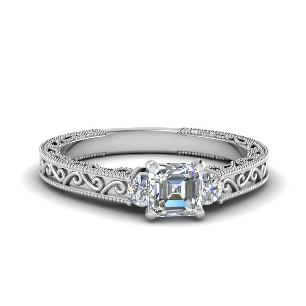 Asscher Cut Diamond Filigree Three Stone Engagement Ring In 18K White Gold