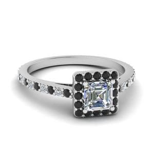 Square Halo Black Diamond Ring