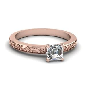 Floral Engraved Asscher Diamond Solitaire Ring In 14K Rose Gold