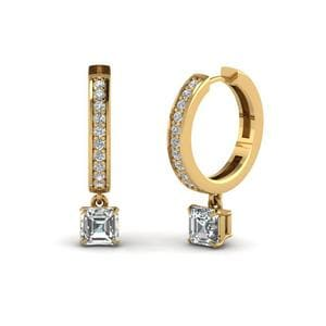 Asscher Cut Hoop Earrings