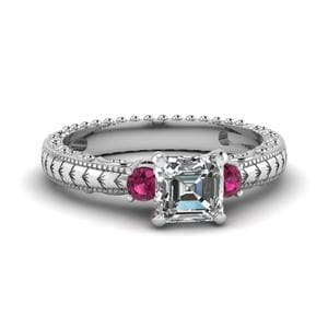 Pink Sapphire 3 Stone Ring