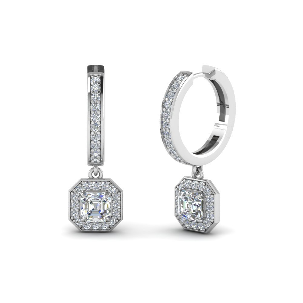 Asscher Halo Hoop Earrings