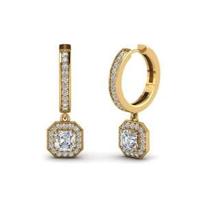 Asscher Diamond Halo Drop Hoop Earrings In 14K Yellow Gold