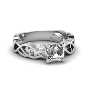 Asscher Cut Diamond Solitaire Ring