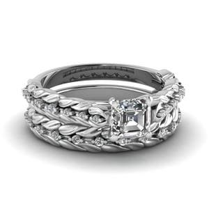 Leaf Design Asscher Cut Diamond Wedding Ring Set In 14K White Gold