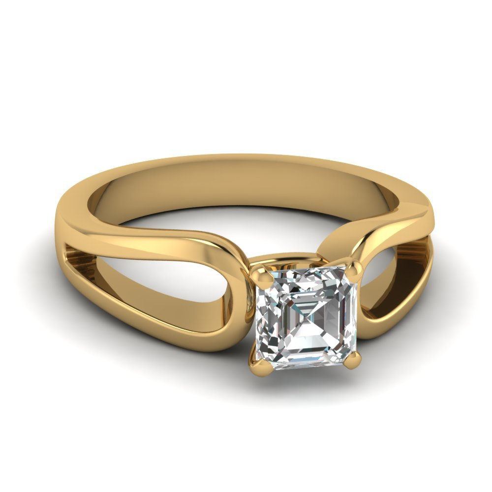 Asscher Cut Diamond Loop Duet Soltaire Ring In 14K Yellow Gold