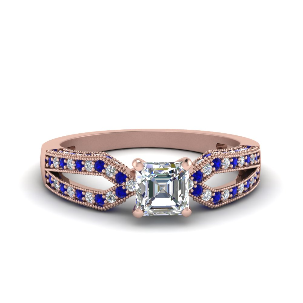 Antique Split Pave Asscher Cut Diamond Engagement Ring With Sapphire In 14K Rose Gold